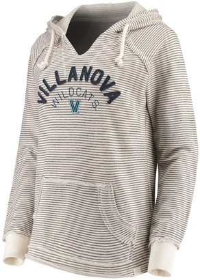 Women's Blue 84 Cream Villanova Wildcats Striped French Terry V-Neck Pullover Hoodie