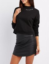 Charlotte Russe Embroidered Mock Neck Pullover