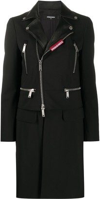 DSQUARED2 Layered Mid-Length Biker Jacket