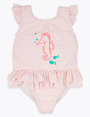 Marks and Spencer Seahorse Striped Swimsuit (0-3 Yrs)