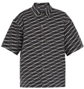 Balenciaga Logo-print Padded-fleece Cotton Overshirt - Mens - Black White