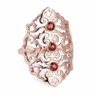 Neola Jade Rose Gold Cocktail Ring With Red Onyx