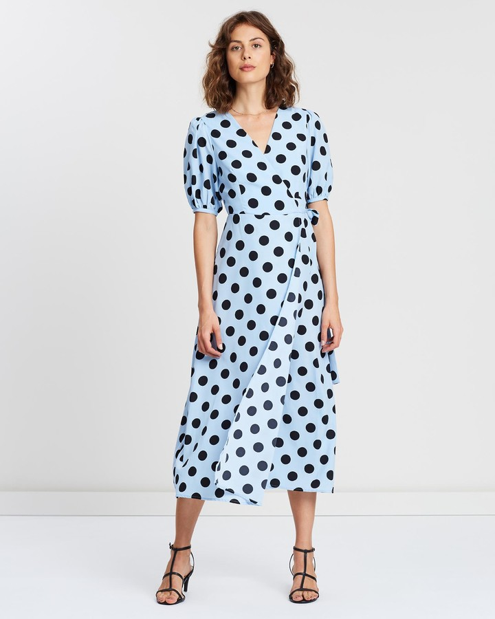 Atmos & Here Sally Spot Wrap Midi Dress