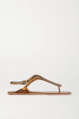Chloé Carla Paneled Leather Sandals - Yellow