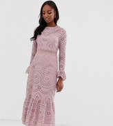 Asos Tall DESIGN Tall PREMIUM broderie maxi dress with pep hem and fluted sleeves