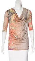 Jean Paul Gaultier Silk Floral Print Sleeve Top