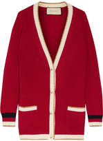 Gucci Metallic-trimmed Wool-blend Cardigan - Brick