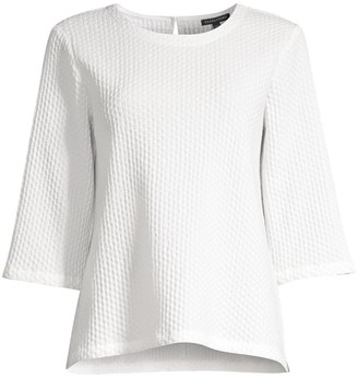 Eileen Fisher Waffle-Knit Three-Quarter Sleeve Top