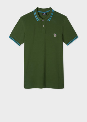 Paul Smith Men's Slim-Fit Bottle Green Zebra Logo Cotton Polo Shirt With Blue Tipping
