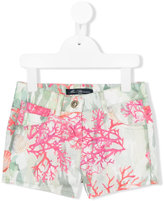 Miss Blumarine printed denim shorts - kids - Cotton/Elastodiene/Polyester - 4 yrs