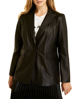 Marina Rinaldi Plus Size Elettra One-Button Leather Blazer