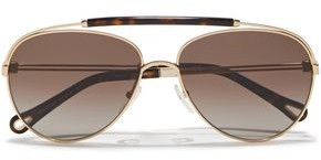 Chloé Reece Aviator-style Gold-tone And Tortoiseshell Acetate Sunglasses