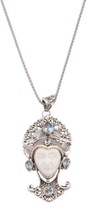 Sterling Silver And 14k Gold Blue Topaz Carved Face Necklace