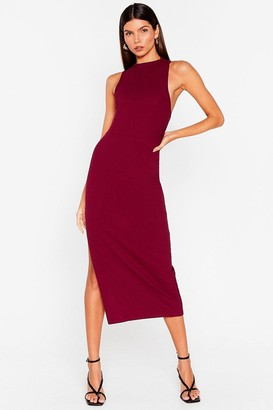 Nasty Gal Womens Tell Slit to My Face Asymmetric Back Midi Dress - Black - 12