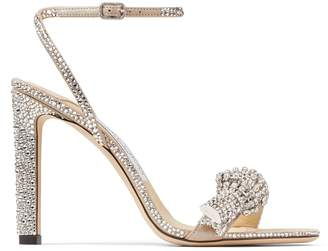 Jimmy Choo Thyra 100 Suede Crystal-Embellished Sandals