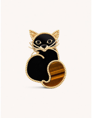 Van Cleef & Arpels Lucky Animals Cat 18ct yellow-gold, onyx and tiger eye brooch