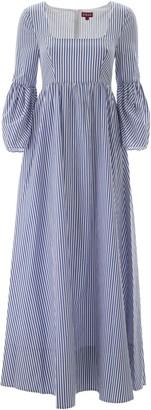 STAUD PLUMERIA STRIPED DRESS 2 White, Light blue Cotton