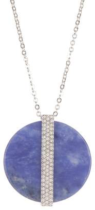 Swarovski Crystal Accented Large Disc Pendant Necklace