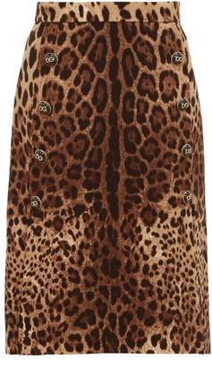 Dolce & Gabbana Leopard-print Wool-crepe Midi Skirt - Leopard