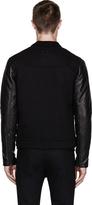 Alexander Wang Black Leather-Sleeved Denim Jacket