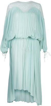 Chloé Light Blue Crinkled Chiffon Lace Detail Long Sleeve Maxi Dress S