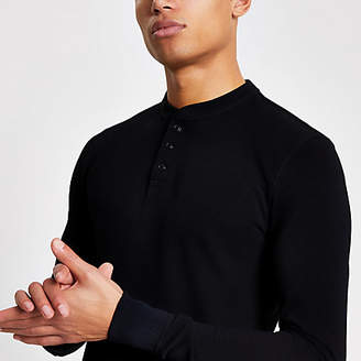 River Island Superdry black grandad collar T-shirt