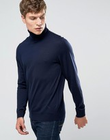 Ps By Paul Smith Paul Smith Jumper With Roll Neck In Merino With Contrast Tipping Navy