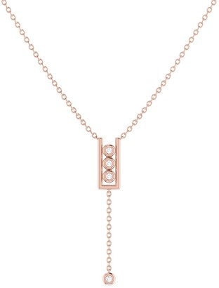 Lmj Traffic Light Lariat Necklace In 14 Kt Rose Gold Vermeil On Sterling Silver