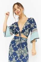 Forever 21 Ornate Print Tie-Front Top