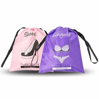 Pure Style Girlfriends Women's Travel Drawstring Bag Set Shoe and Lingerie