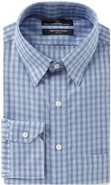 Hart Schaffner Marx Non-Iron Classic-Fit Hidden Button-Down Collar Plaid Dress Shirt