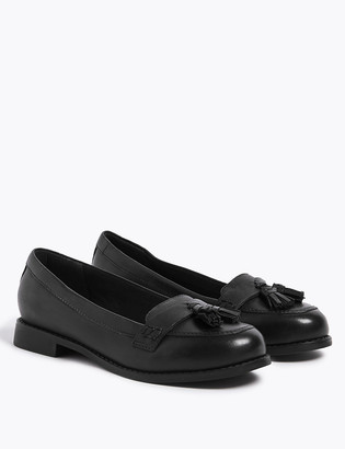 Marks and Spencer Kids Leather Tassle Loafers School Shoes (13 Small - 7 Large)