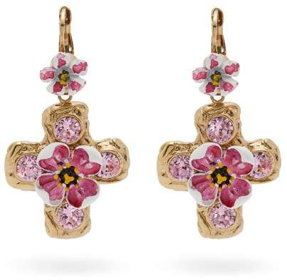 Dolce & Gabbana Flower And Crystal Embellished Cross Earrings - Womens - Pink