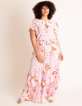 ELOQUII Ruffled Maxi Dress