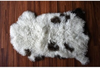 "Hegarty Animal Print Handmade 2'3"" x 3' Sheepskin White/Brown Indoor / Outdoor Area Rug Millwood Pines"