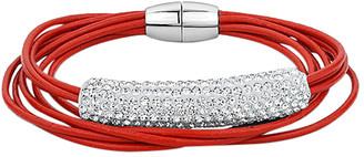 Swarovski Callura callura Women's Bracelets Red - Red Multistrand Leather Bracelet With Crystals