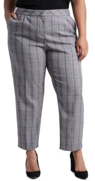 1 STATE Trendy Plus Size Tapered Plaid Pants
