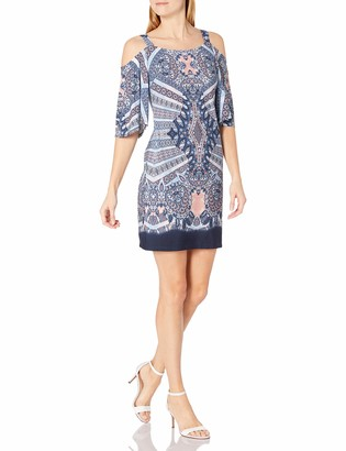 Robbie Bee Women's Printed Ity Cold Shoulder Shift Dress
