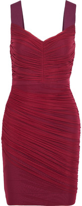 Herve Leger Layered Ruched Tulle And Bandage Mini Dress