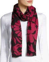 Burberry Large Floral Cashmere Scarf, Black/Pink