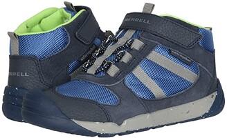 Merrell Bare Steps Ridge (Little Kid) (Navy/Green) Boy's Shoes
