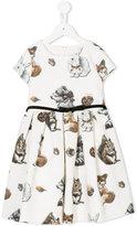 MonnaLisa woodland animals print dress - kids - Cotton/Polyester/Viscose - 2 yrs
