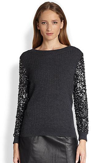 Rachel Zoe Presley Leather Sequin-Sleeve Sweater