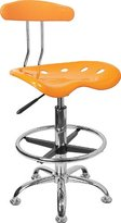 Flash Furniture LF-215-GG Vibrant Orange/ and Chrome Drafting Stool with Tractor Seat
