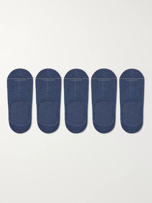 Marcoliani Milano Five-Pack Invisible Touch Pima Cotton-Blend No-Show Socks