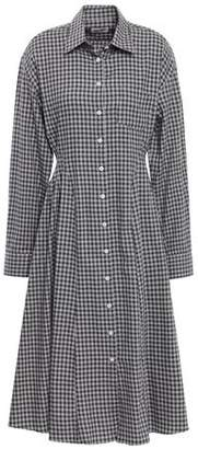 Each X Other Pleated Gingham Cotton-flannel Shirt Dress