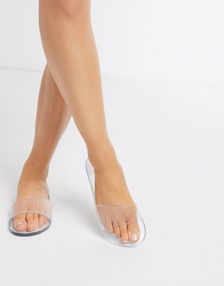clear Asos Design ASOS DESIGN Fern jelly sliders in