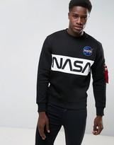 Alpha Industries Nasa Inlay Crew Sweatshirt In Black