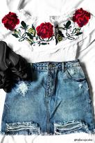 Forever 21 FOREVER 21+ Rose Embroidered Flounce Top