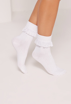 Missguided Frill Ankle Socks White